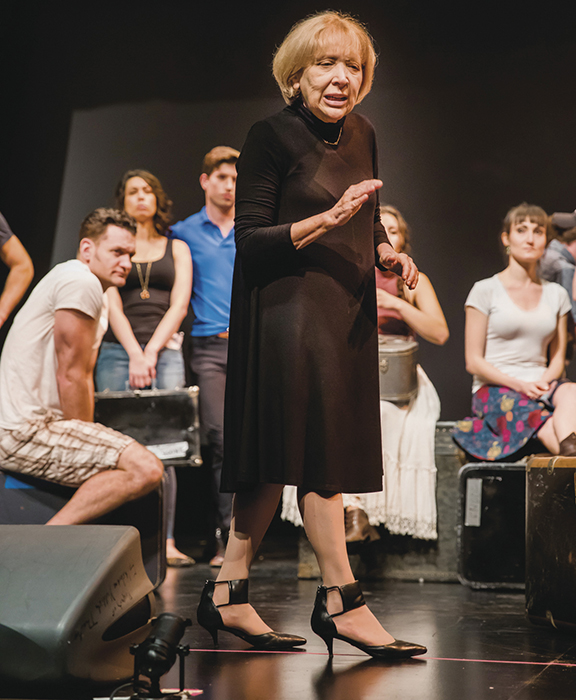 "Bryna Wasserman, a luminary of Yiddish theater, is the Folksbiene's executive director; here she directs ""Amerika."""