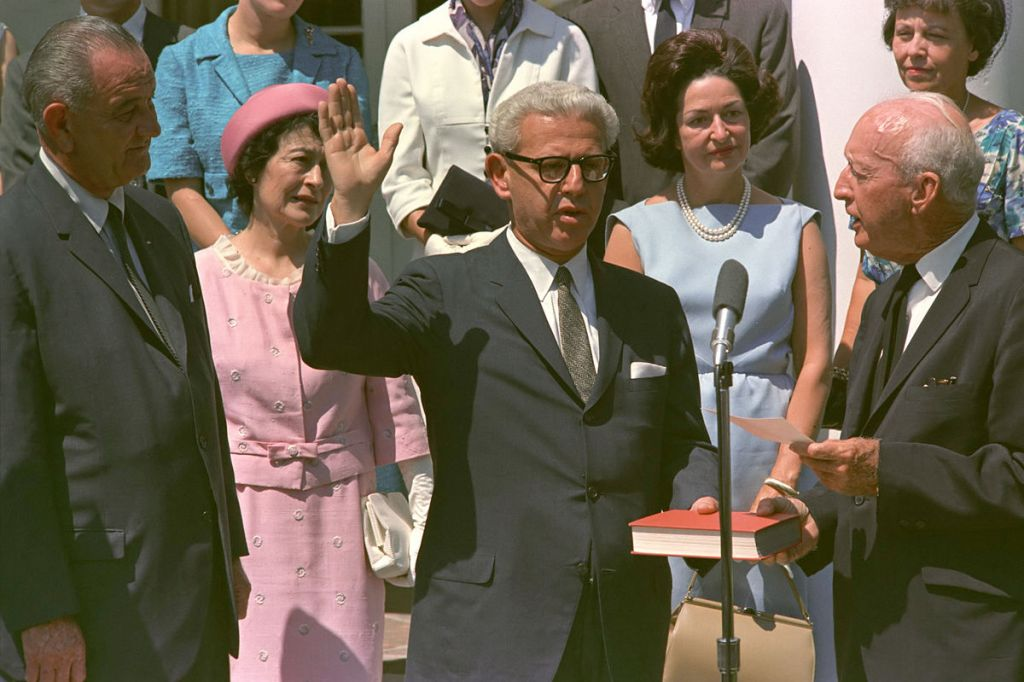 Arthur Goldberg being sworn in as US Ambassador to the United Nations in 1965. (Public domain)