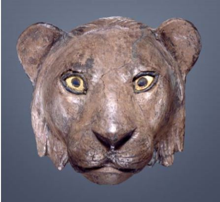 Head of a Lion, Mesopotamia, Sumerian, Ur circa 2550–2400 BCE. (University of Pennsylvania Museum of Archaeology and Anthropology)