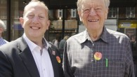 Labour candidate for Finchley and Golders Green Jeremy Newmark with peer, Alf Dubs