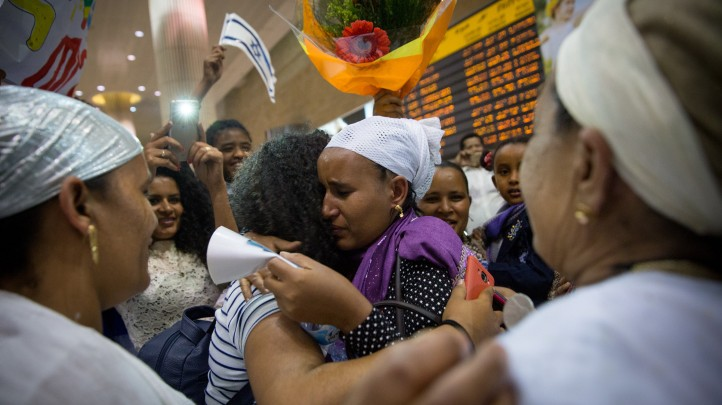 Many family members were separated for more than a decade before the reunion at Ben Gurion Airport on June 6, 2017. (Miriam Alster/Flash90)