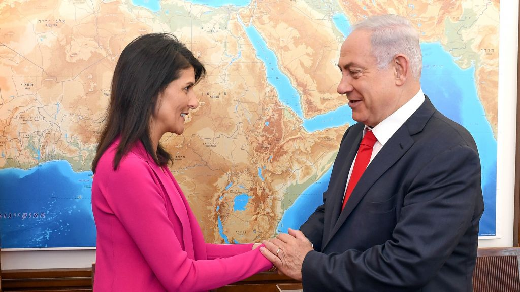 Prime minister Benjamin Netanyahu meets with United States Ambassador to the United Nations Nikki Haley, at Netanyahu's office in Jerusalem on June 7, 2017. (Matty Stern/US Embassy Tel Aviv)