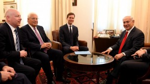 US Ambassador to Israel David Friedman and US President Donald Trump's special envoys Jared Kushner and Jason Greenblatt meet with Prime Minister Benjamin Netanyahu at the Prime Minister's Office in Jerusalem, June 21, 2017. (Matty Stern/US Embassy Tel Aviv)