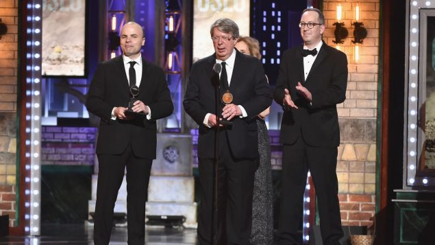 "Producer Andre Bishop accepts the award for Best Play for ""Oslo"" onstage during the 2017 Tony Awards at Radio City Music Hall on June 11, 2017 in New York City. Getty Images"