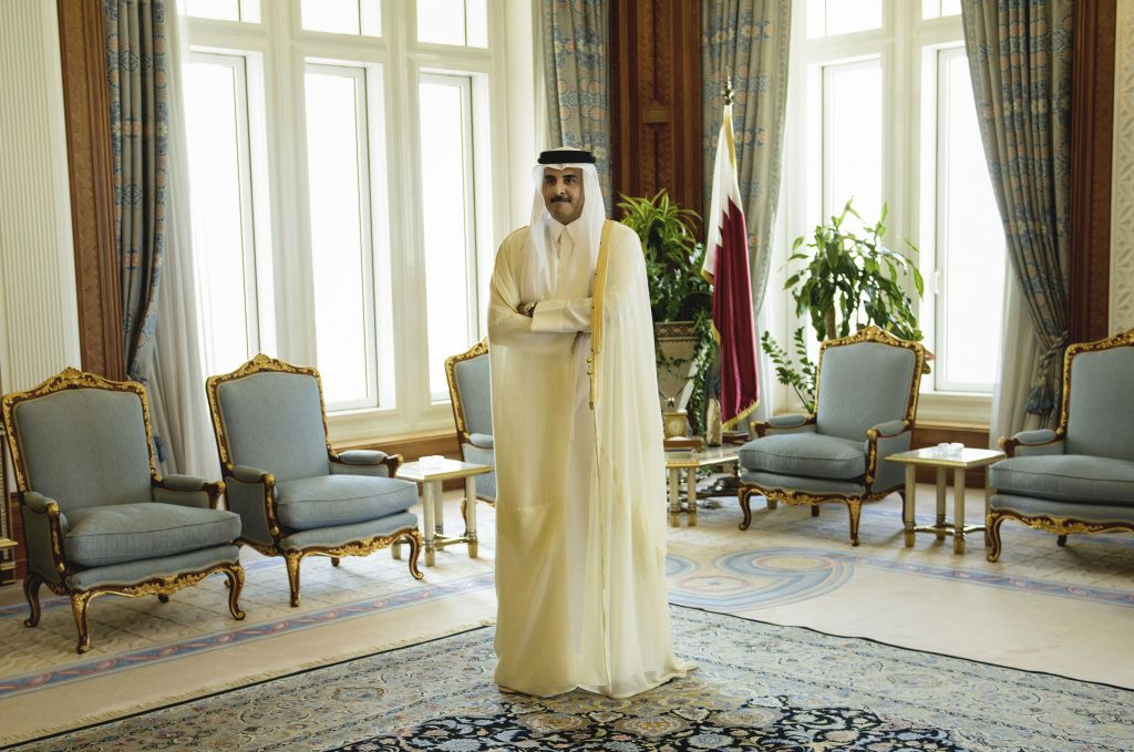 In this Aug. 3, 2015 photo, Qatar Emir Sheik Tamim bin Hamad Al-Thani waits for the arrival of U.S. Secretary of State John Kerry ahead of their meeting, at Diwan Palace in Doha, Qatar. (Brendan Smialowski/Pool Photo via AP)