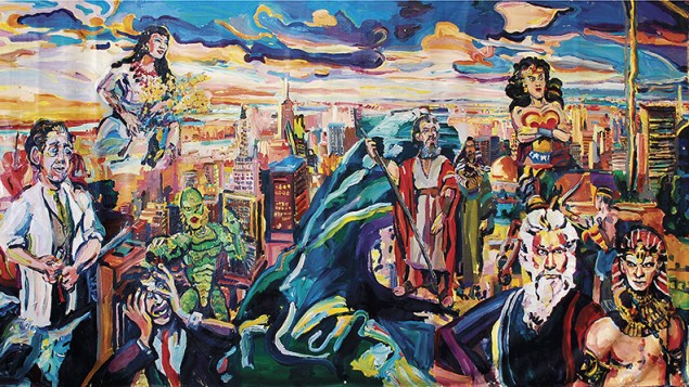 """Joel Silverstein, """"Ten Commandments - A Question."""" Inspired by an 1,800 year old Jewish mural, this shows Jerusalem, Moses and Aaron, drowning Egyptians, the flooding red sea and Wonder woman, mixing figurative art with  pop references."""