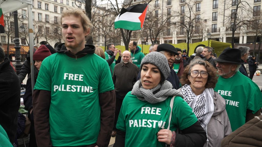 BDS protesters in Paris. Screenshot from the documentary 'Chosen and Excluded -- Jew Hatred in Europe.' (Courtesy)