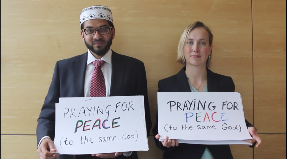 Praying for peace, together. Left, Imam Qari Asim and right, Rabbi Esther Hugenholtz