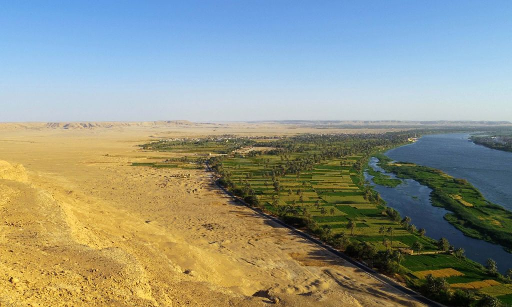 The site of Egypt's Amarna, taken from the desert cliffs to the north of the city. (Mary Shepperson/Courtesy of The Amarna Project)