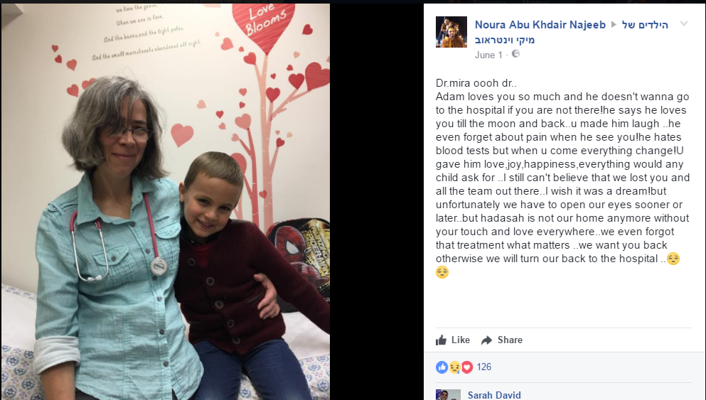 A Facebook tribute to one of the departing doctors from the parent of a cancer patient (Facebook screenshot)
