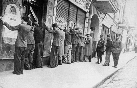 Jews of Iaşi being rounded up and arrested during the pogrom