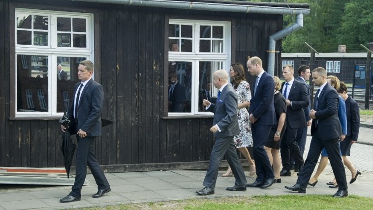 Britain's Prince William Duke of Cambridge, and his wife Kate the Duchess of Cambridge, visit the former Stutthof Nazi concentration camp near Gdansk Poland