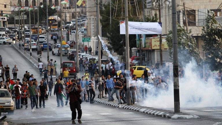 Palestinian protesters clash with Israeli security forces in the West Bank town of Bethlehem