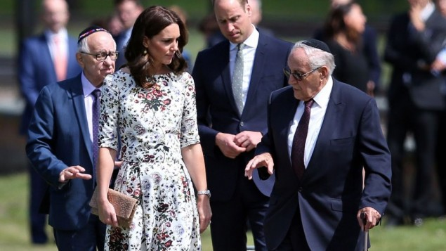 The Duchess of Cambridge with survivor Manfred Goldberg and the Duke of Cambridge with survivor Zigi Shipper during their visit to the former Nazi concentration camp at Stutthof.  Photo credit: Jane Barlow/PA Wire