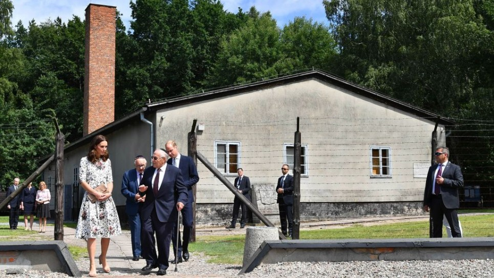 The Duchess of Cambridge with survivor Manfred Goldberg and the Duke of Cambridge with survivor Zigi Shipper during their visit to the former Nazi concentration camp at Stutthof, near Gdansk, on the second day of their three-day tour of Poland. PRESS ASSOCIATION Photo. Picture date: Tuesday July 18, 2017. It was the first camp set up outside German borders, in September 1939, and one of the last camps liberated by the Allies, in May 1945. See PA story ROYAL Cambridge. Photo credit should read: Bruce Adams/Daily Mail/PA Wire