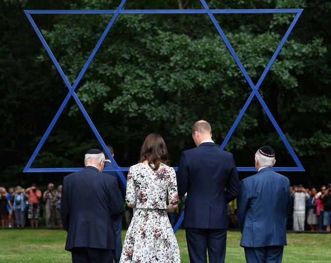 The Duke and Duchess of Cambridge visit the former Nazi concentration camp at Stutthof, near Gdansk, on the second day of their three-day tour of Poland.   Photo credit: Bruce Adams/Daily Mail/PA Wire
