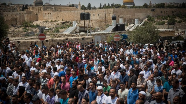 Muslim leaders' told Palestinians, who led mass protests in the Old City of Jerusalem, that their demonstrations  against the new security arrangements could end.  Photo by: JINIPIX