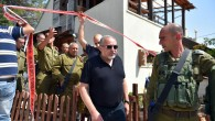 Israeli minister of Defence Avigdor Liberman and IDF Chief of Staff Gadi Eisenkott the site of a terror attack in the settlement of Halamish, where three Israelis were murdered and one seriously injured by a Palestinian terrorist, in a stabbing attack.   (Photo by Ariel Hermoni/Ministry of Defense via JINIPIX)