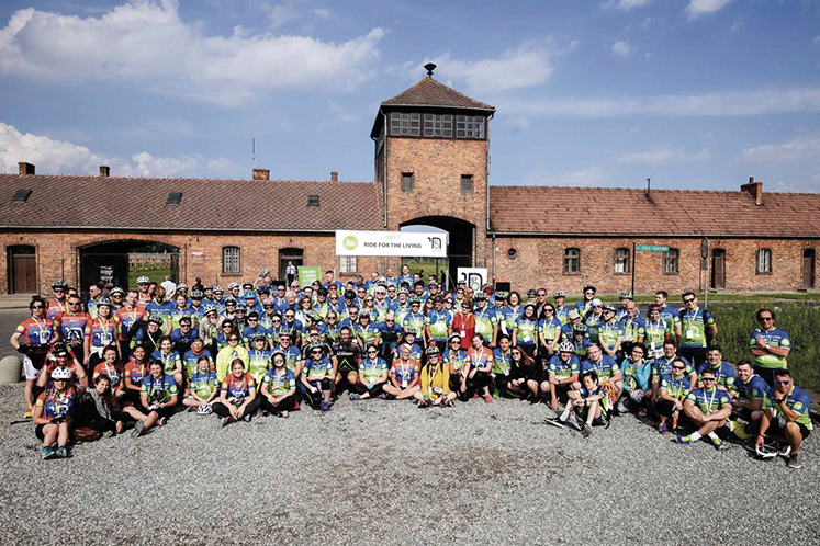 The group assembles at Auschwitz-Birkenau at 8:30 in the morning to begin the ride to Krakow.