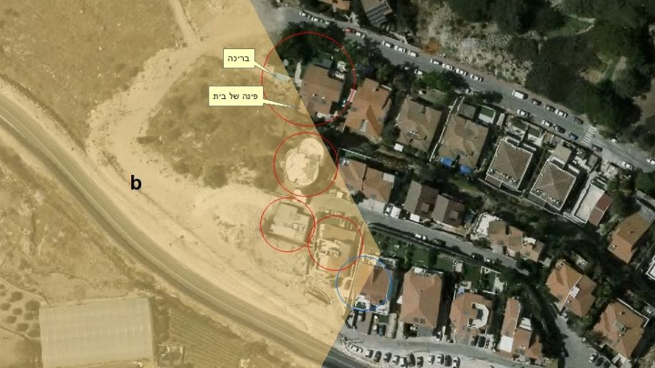 An aerial photo of the homes in the Shaarei Tikva settlement reportedly built on Area B. The above yellow tab points to a pool, while the one below points to the corner of a house. (Courtesy: Dror Etkes)