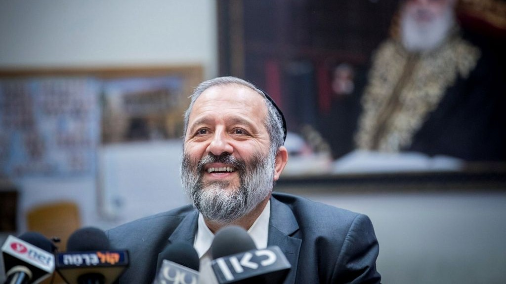 Interior Minister Aryeh Deri leads a Shas faction meeting at the Knesset on July 3, 2017. (Yonatan Sindel/Flash90)