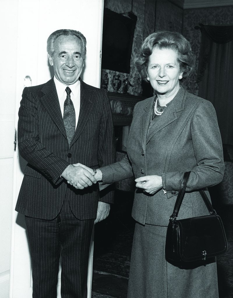 A successful visit: Thatcher with Shimon Peres in 1985