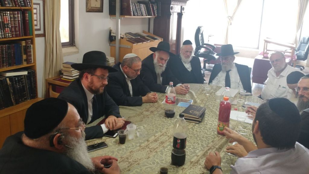 ZAKA's council of rabbis discusses requirements for removing bodies from the Temple Mount on July 30, 2017 in Jerusalem. (courtesy ZAKA)