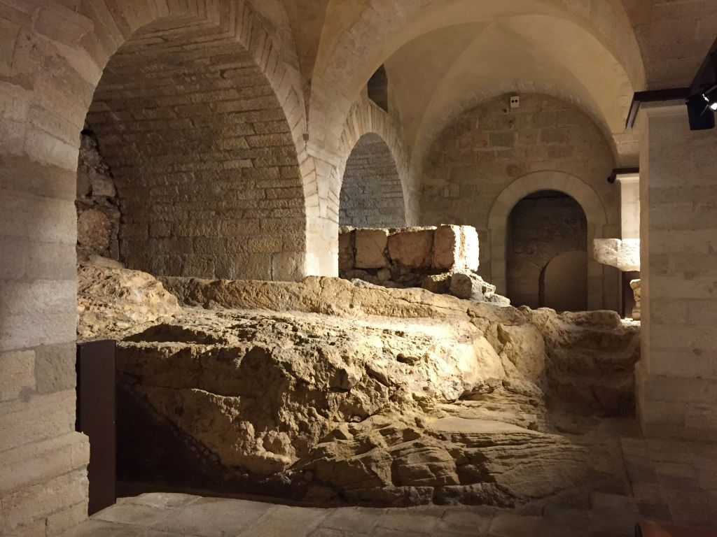 Archaeology featured in an immersive exhibition 'Via Doloros' at the Terra Sancta Museum sits upon the bedrock of Jerusalem's Old City. (Amanda Borschel-Dan/Times of Israel)