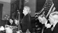 Louise Waterman Wise, a Jewish activist and wife of World Jewish Congress President Stephen Wise, second from right, addresses the WJC's  War Emergency Conference in Atlantic City, N.J., November 1944. Nahum Goldmann, co-founder of the WJC, is second from left. (World Jewish Congress)