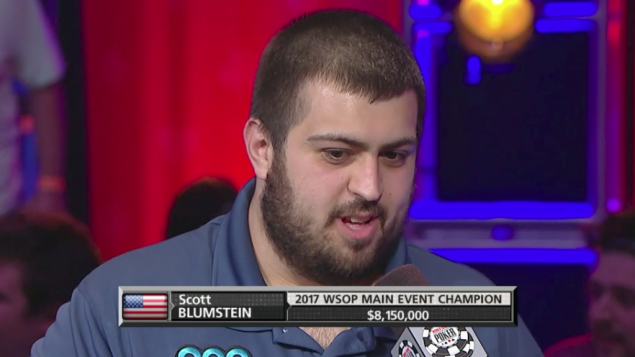 Scott Blumstein after winning the tournament.  (Source: Screenshot from ESPN video)