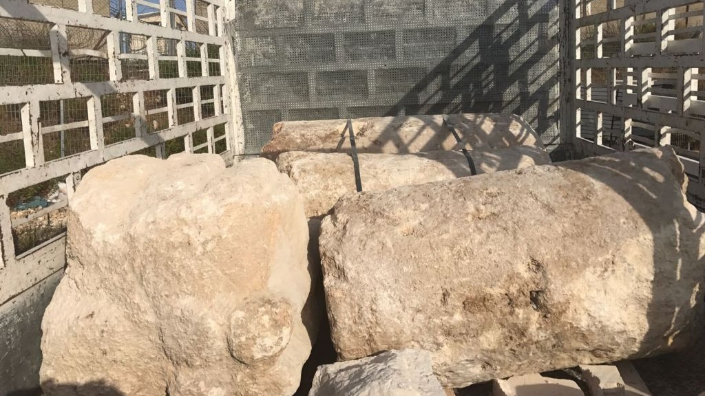 Columns from a Byzantine-era church confiscated by the Civil Administration from suspected antiquities traffickers near the West Bank city of Bethlehem on July 10, 2017. (Civil Administration spokesperson)