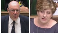 Alistair Burt (left) and Emily Thornberry (right) clashing in the Commons