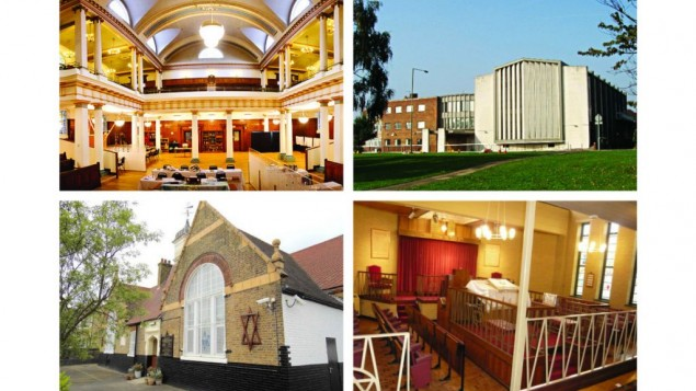 Top: Golders Green Synagogue and Kinloss in Hendon  Bottom:Bet Tikvah synagogue and Staines and District United Synagogue