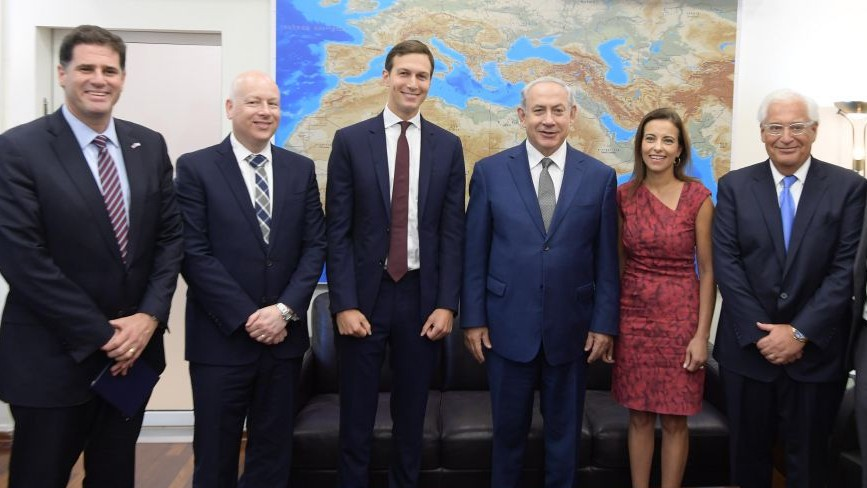 L-R Israeli Ambassador to the US Ron Dermer US President Donald Trump's Middle East envoy Jason Greenblatt White House Senior Adviser Jared Kushner Prime Minister Benjamin Netanyahu US Deputy National Security Adviser for Strategy Dina Powell and US