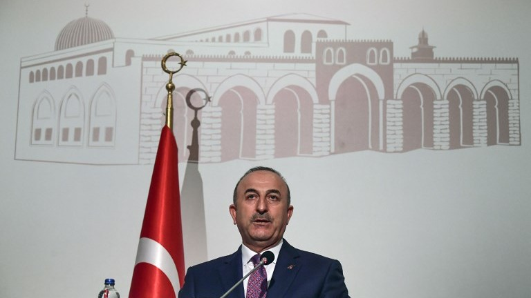 Turkish Foreign Minister Mevlut Cavusoglu holds a press conference at the Organization of Islamic Cooperation meeting in Istanbul on August 1, 2017. (AFP Photo/Ozan Kose)