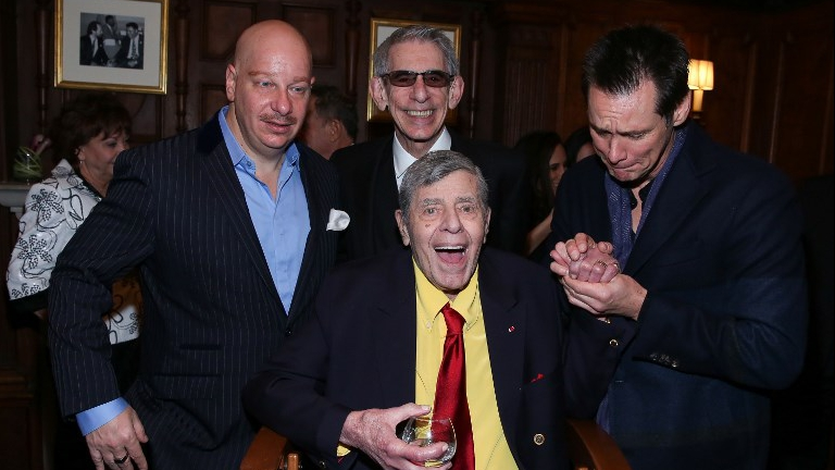 (L-R) Jeff Ross, Richard Belzer, Jerry Lewis and Jim Carrey attend the 90th Birthday Celebration of Jerry Lewis at The Friars Club on April 8, 2016 in New York City. (Rob Kim/Getty Images/AFP)