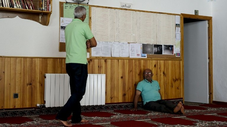 Members of the Ripoll Muslim community are pictured at the mosque in the Spanish town on August 20, 2017. (AFP Photo/Pau Barrena)
