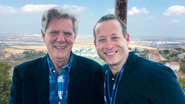 Josh Gottheimer, right, stands with Frank Pallone, the Democrat who represents New Jersey's Sixth District. Both were among the delegation in Israel.