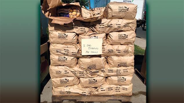 Bags of potatoes unloaded from one of the CFA's trucks.