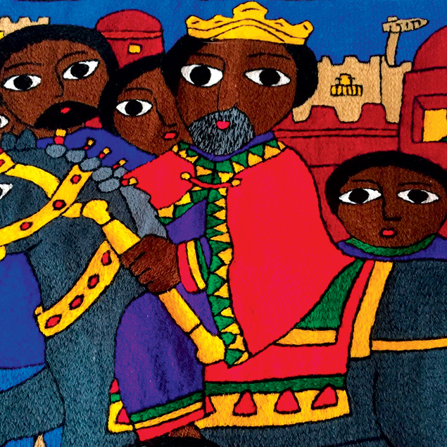 Ethiopian Jewish life is featured in this embroidery comissioned by the North American Conference on Ethiopian Jewry.