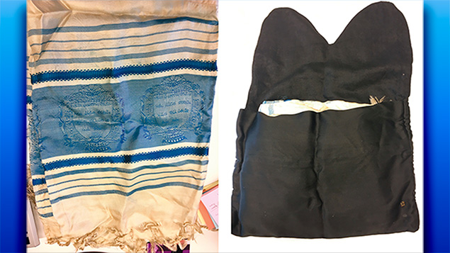 The items the Nazi squatting in her parents' postwar Lodz apartment included this tallit and its bag, hand sewn to evoke the two stone tables Moses received on Mount Sinai.