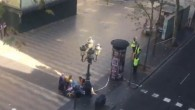 The scene in Las Ramblas, Barcelona after several people have been injured after a van crashed on a pavement in a popular tourist area of the Spanish city.    Photo credit: Pawi Lerma/PA Wire   Screengrab taken with permission from video posted on twitter by @pawilerma of