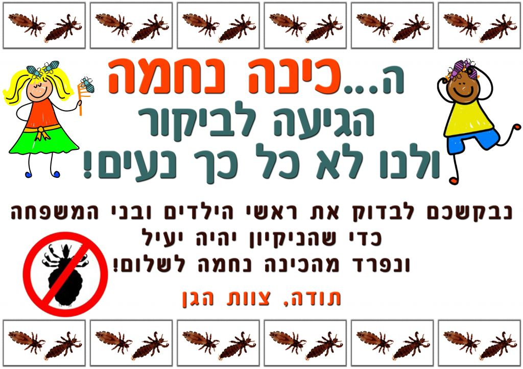 A lice check notice from an Israeli gan, asking parents to please check their childrens' heads, in order to say goodbye to Nechama the Louse, referencing the Meir Shalev book (Courtesy Gan Dafna)