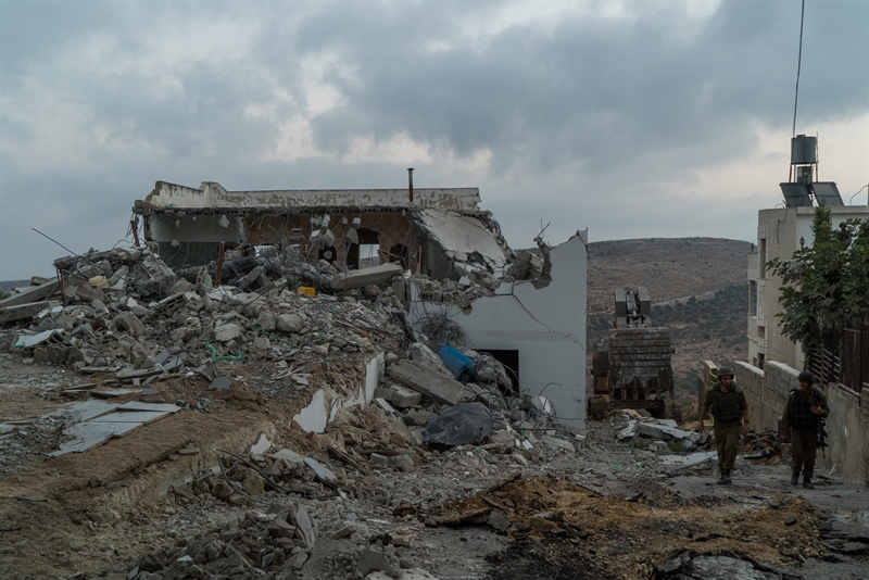 The home of a Palestinian terrorist in the West Bank that was demolished by the Israeli army on August 10, 2017. (Israel Defense Forces)