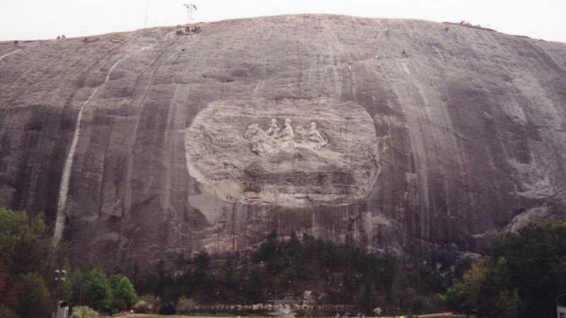 "The bas-relief of Confederate figures Jefferson Davis, Robert E. Lee and Thomas ""Stonewall"" Jackson at Stone Mountain, Georgia. (CC BY-SA 3.0, Ahoerstemeier, Wikimedia Commons)"