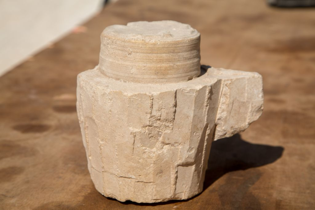 Stone vessels unearthed inside the ancient workshop at the stone quarry and tool production center excavations at Reina in Lower Galilee. (Samuel Magal/IAA)