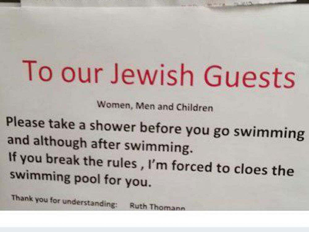 Anti-Semitic signs at Switzerland hotel