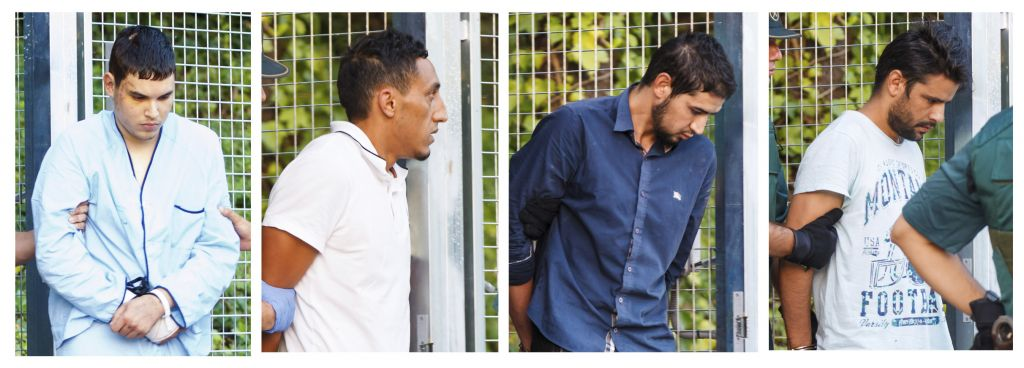 In this combination photo, four un-named alleged members of a terror cell accused of killing 15 people in attacks in Barcelona leaves a Civil Guard base on the outskirts of Madrid before appearing in court in Madrid, Spain, Tuesday Aug. 22, 2017. (AP Photo)