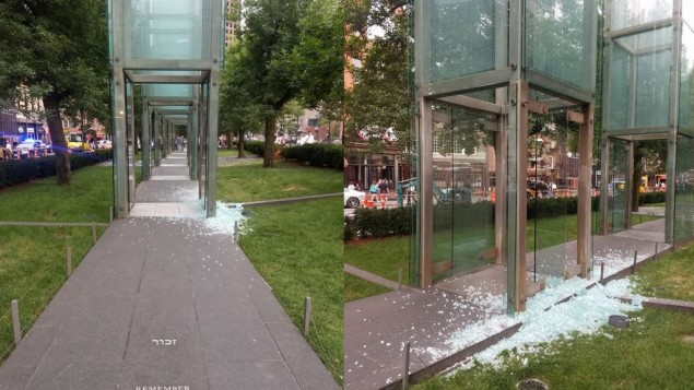 Images of the shattered glass of the Boston Holocaust memorial posted on Twitter by @talipfeifer