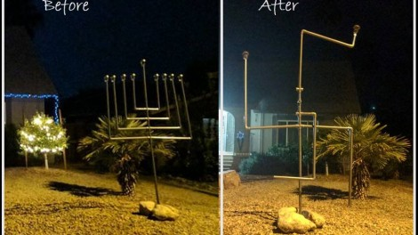 The Ellis family's home at the beginning of Canukah, left, and early Friday morning when the menorah was vandalised, right. (Courtesy of Naomi Ellis via the Washington Post)